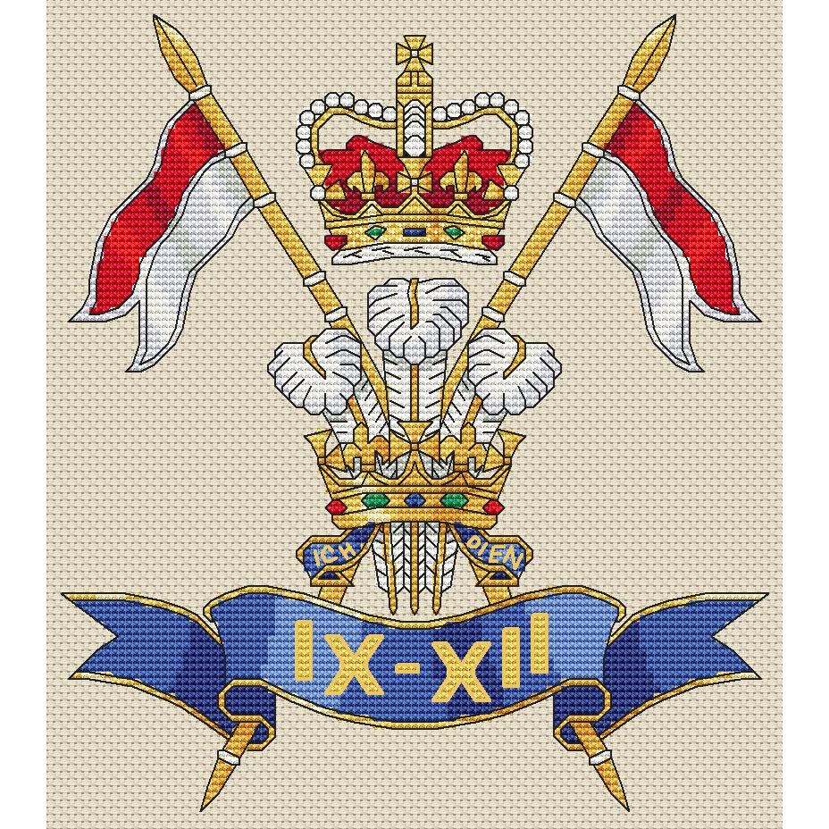 kit or chart 9th//12th Royal Lancers Badge Cross Stitch Design
