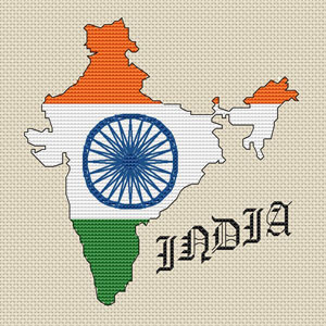 India Map Flag.India Map Flag Cross Stitch Design 15x15cm 6x6 Kit Or Chart