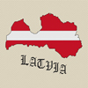 Latvia Map & Flag Cross Stitch Chart