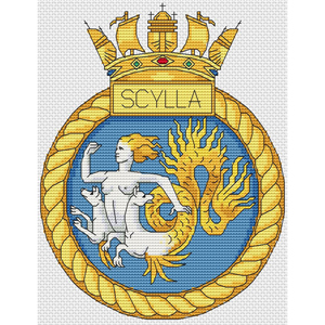 "HMS Scott Royal Navy ship crest Cross Stitch Design 6x8/"",15x20cm, Kit//Gráfico"