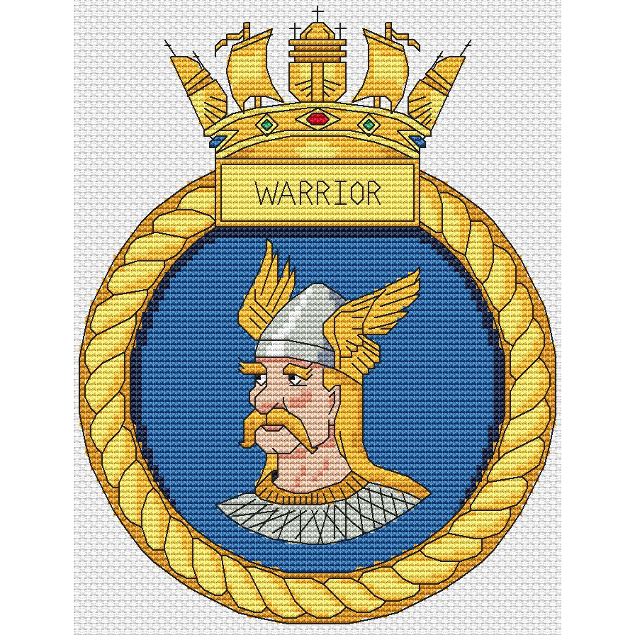 HMS Warrior Ship Crest Cross Stitch Chart