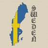 Sweden Map & Flag Cross Stitch Chart Only