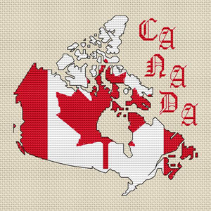 Canada Map Amp Flag Cross Stitch Chart Only Elite Designs
