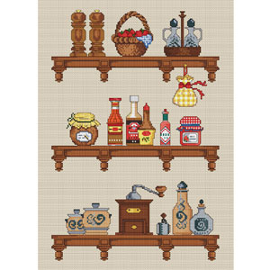 Kitchen shelves cross stitch kit elite designs for Cross stitch kitchen designs