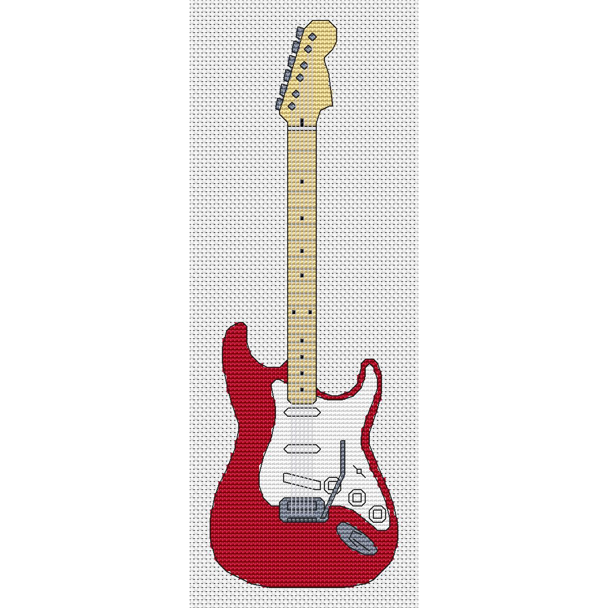 Stratocaster Guitar Cross Stitch Chart Only Elite Designs